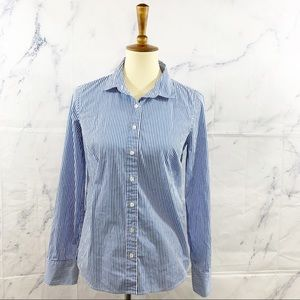 J Crew Stretch Perfect Striped Button Up Shirt S
